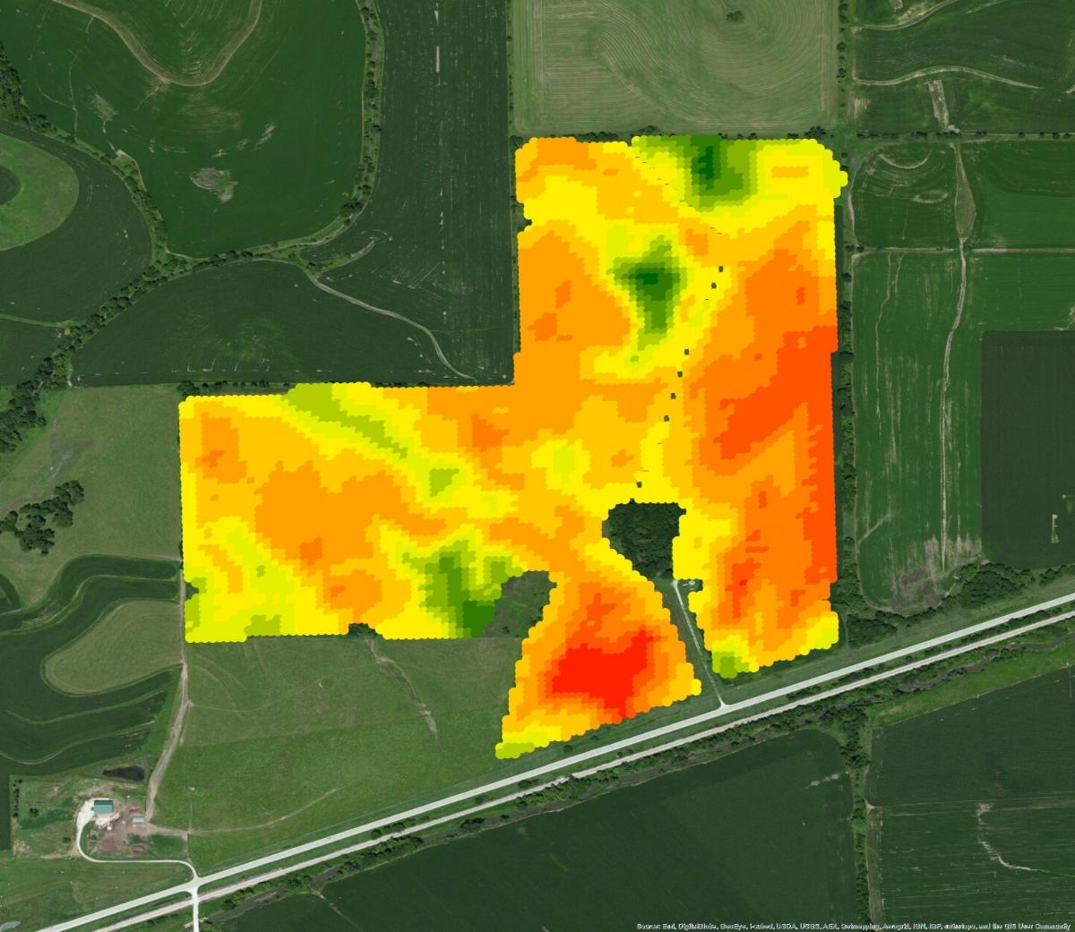 Each box on this Monsanto FieldScripts map represents an 18-by-18-foot unit of field. The colors represent different planting rates.