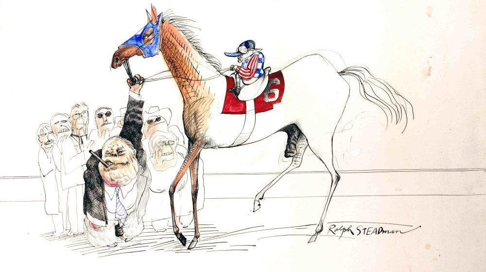When illustrator Ralph Steadman accepted an assignment with writer Hunter S. Thompson at the Kentucky Derby, he never imagined the weekend that would ensue. Here, Steadman depicts the race's winner, a colt named Dust Commander.