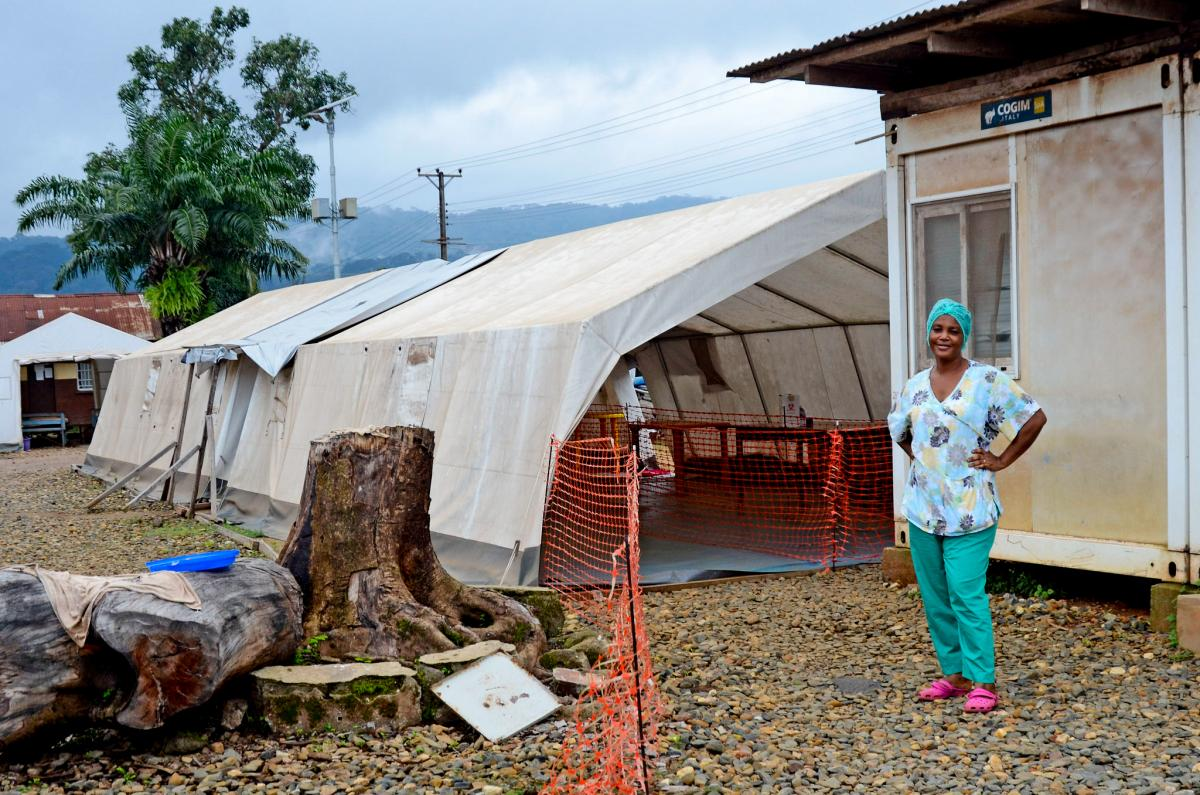 Nurse Isata Kallon outside of the triage tent.