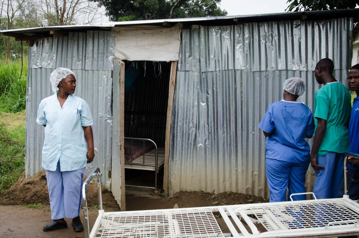 Helena MacCarthy outside of the break room — in a tin hut — for nurses working at the Ebola isolation unit.