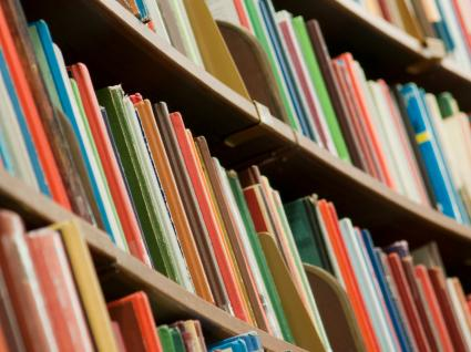 Stock image of books on a shelf