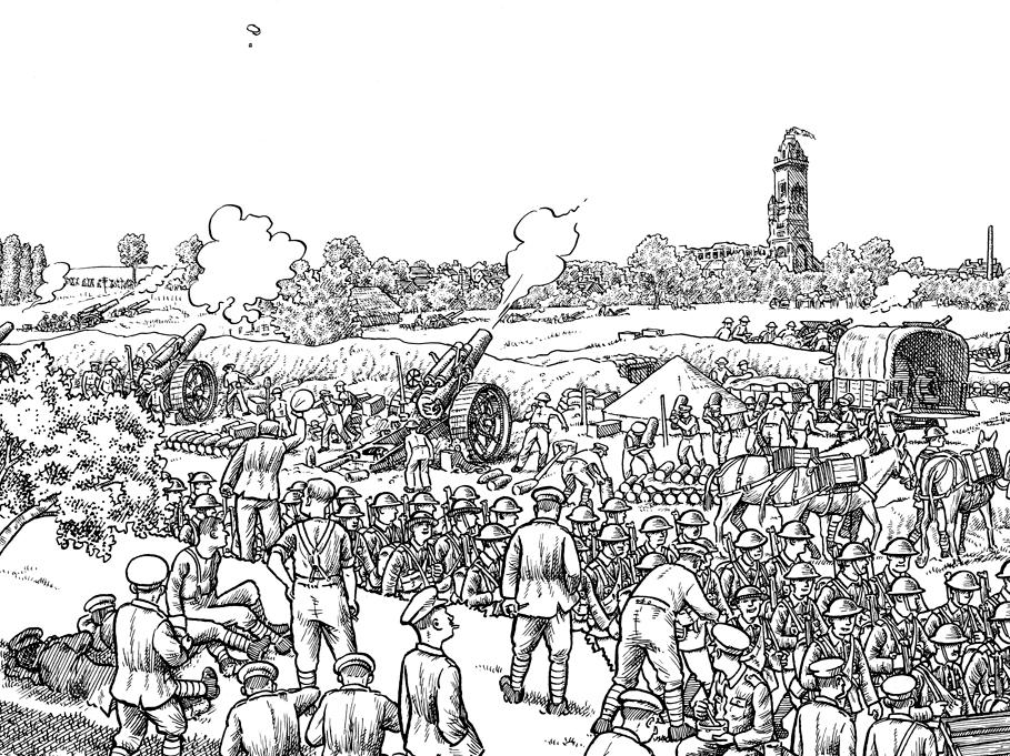 Detail from Plate 5 of Joe Sacco's The Great War: July 1, 1916: The First Day of the Battle of the Somme. The basilica of the town of Albert, visible in the top right, is an important staging point behind the front.