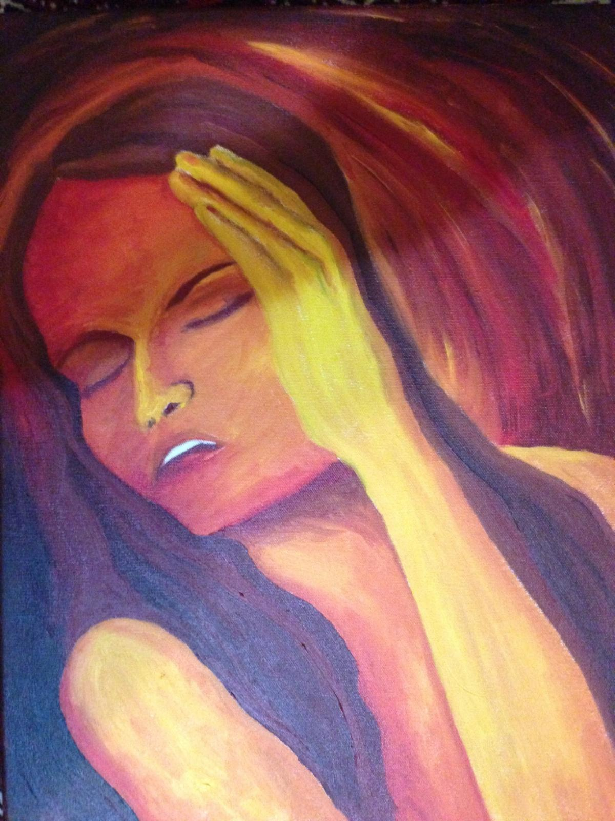 Bates experienced migraines as a child. She made this painting to depict how they felt to her.