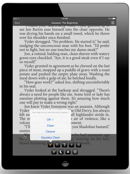 """The three settings of Clean Reader at work: """"clean,"""" """"cleaner"""" and """"squeaky clean."""""""
