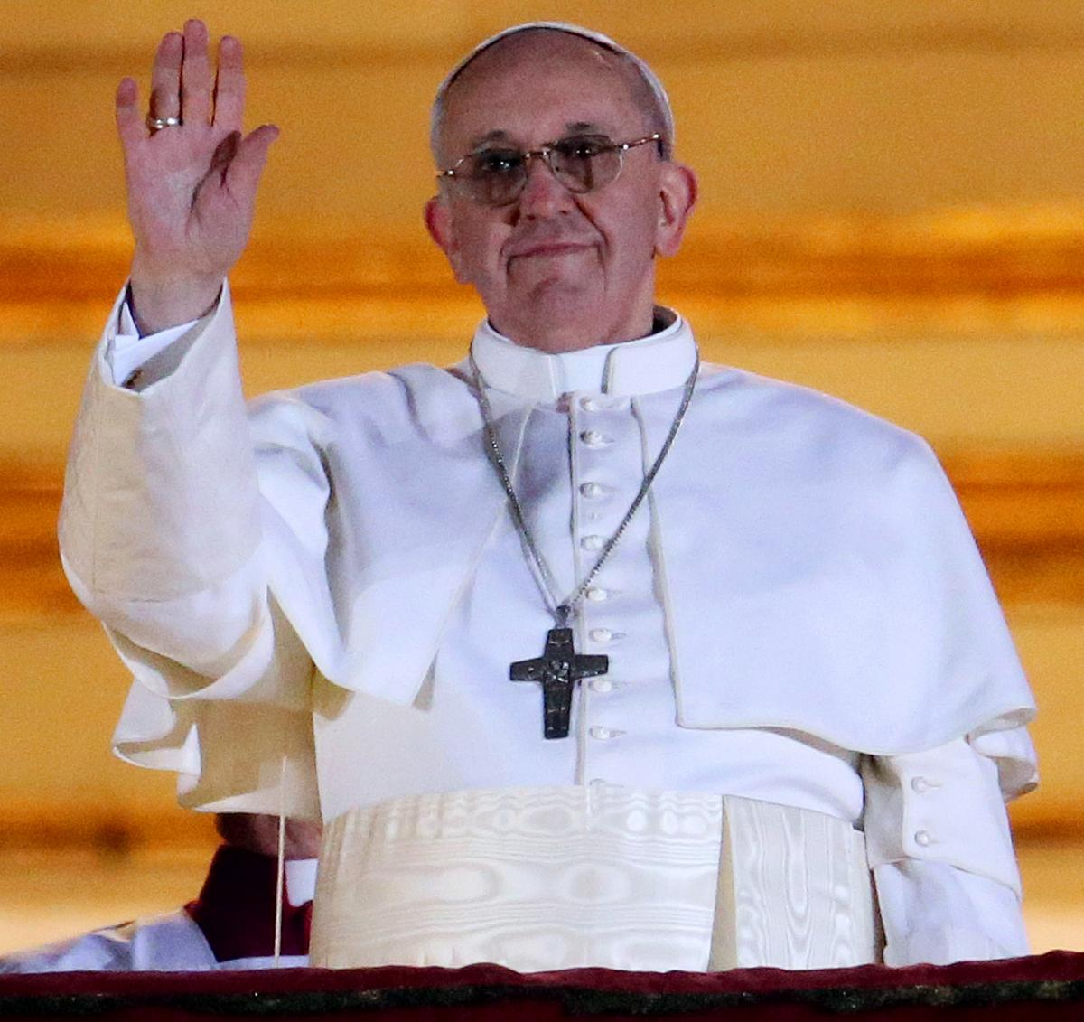 Pope Francis as he waved to the crowd in St. Peter's Square at the Vatican on Wednesday.