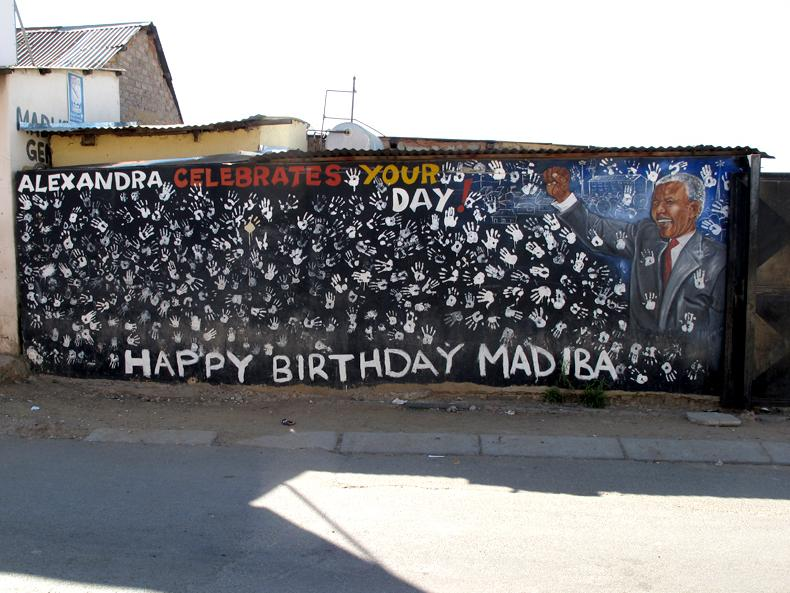 A wall dedicated to Mandela in the Alexandra Township in Johannesburg. It's near the place where Mandela rented a room when he first moved to Johannesburg in 1941.