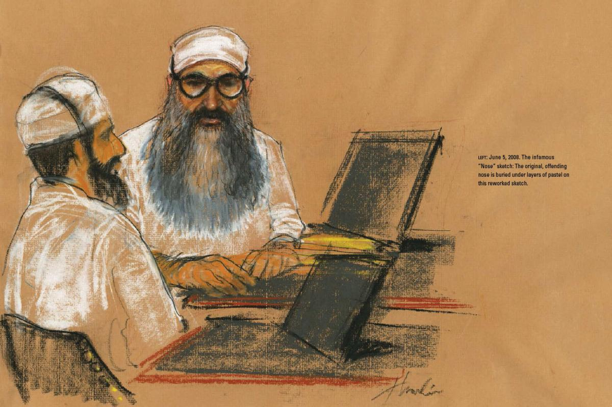 """""""The nose is wrong, and tell the artist to go get my F.B.I. picture off the Internet and use it as a reference to fix it."""" The infamous """"Nose"""" sketch: Khalid Sheikh Mohammed's original, offending nose is buried under layers of pastel on this reworked sket"""