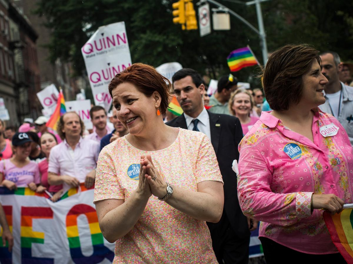 Mayoral candidate Christine Quinn marches in the New York Gay Pride Parade on June 30.