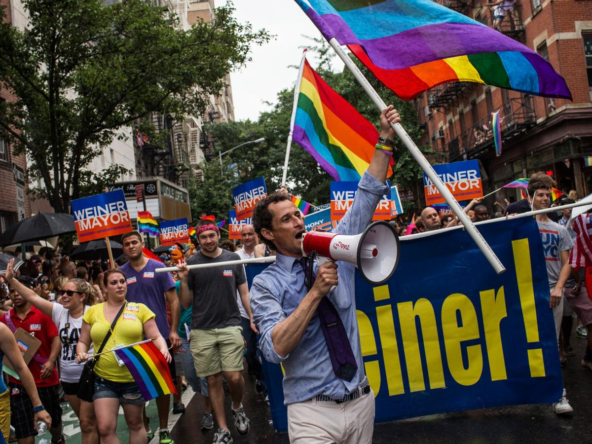 Mayoral candidate Anthony Weiner marches in the New York Gay Pride Parade on June 30.