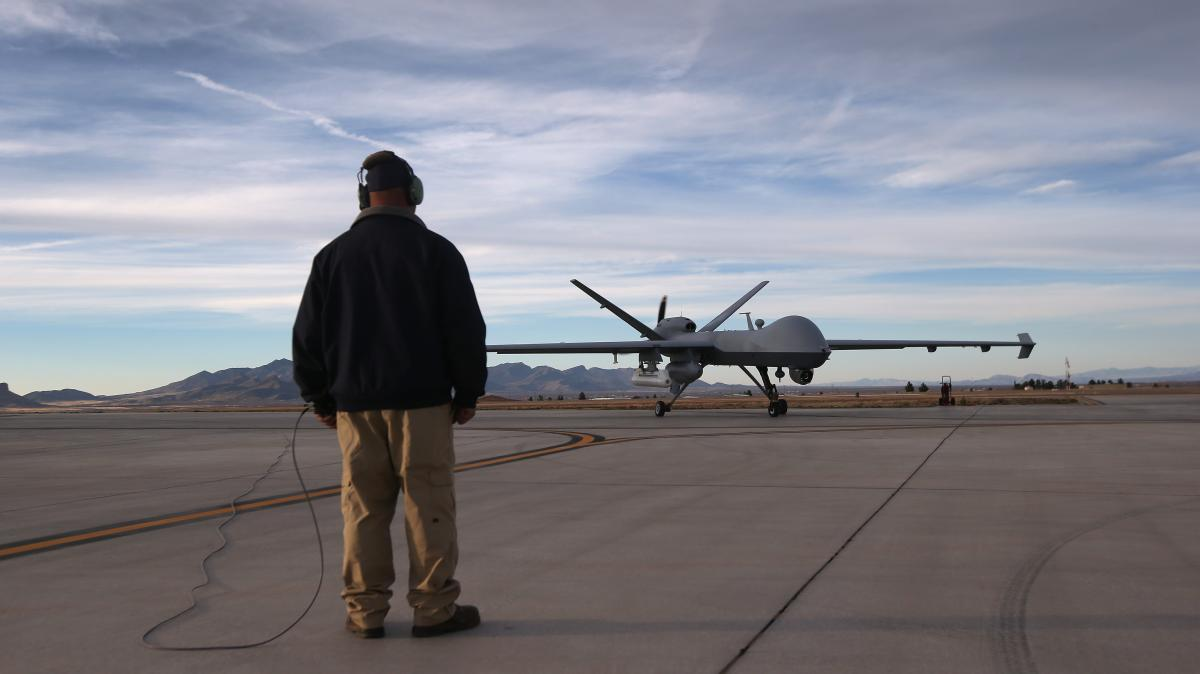 A Predator drone operated by the U.S. Customs and Border Protection Office of Air and Marine taxis for a flight over southern Arizona near the Mexican border on March 7 from Fort Huachuca in Sierra Vista, Ariz.