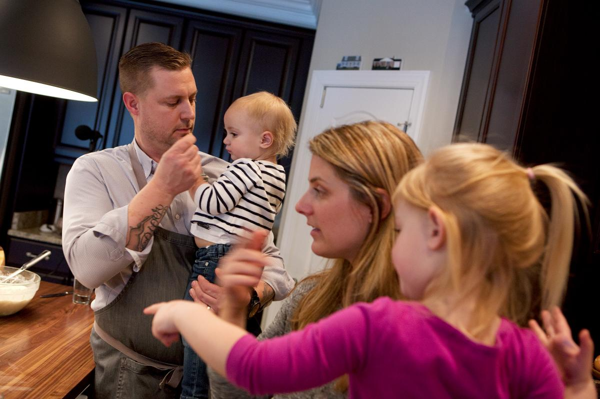 Voltaggio with his wife, Jennifer, and two of his three children, daughters Ever and Piper. The chef is focused on finding a good recipe for work-life balance.