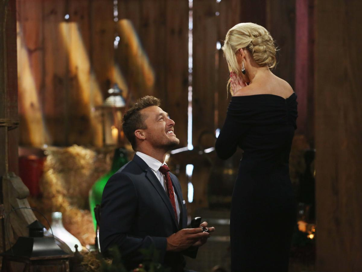 The most recent Bachelor, Chris Soules, proposes to Whitney Bischoff. They are still engaged.