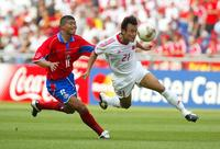 China made its first appearance in the World Cup in 2002 — but did not score a single goal. Here, China plays Costa Rica at the 2002 World Cup in South Korea. Costa Rica won the match 2-0.