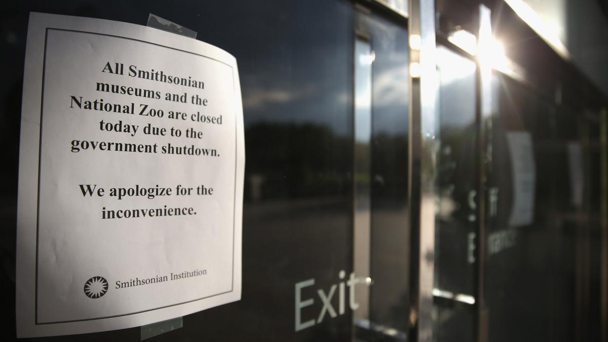 Shutdown signs have been posted at the National Museum of American History and other Smithsonian Institution museums, which will remain closed as long as the government is.