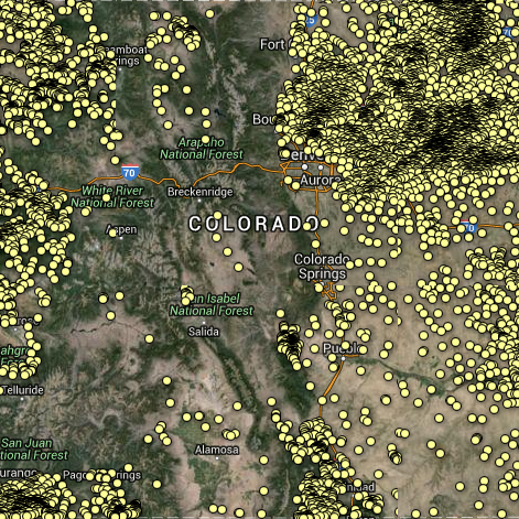 Three maps by Inside Energy explore the locations of abandoned wells in Colorado and the expansion of residential areas into historical oil and gas fields.