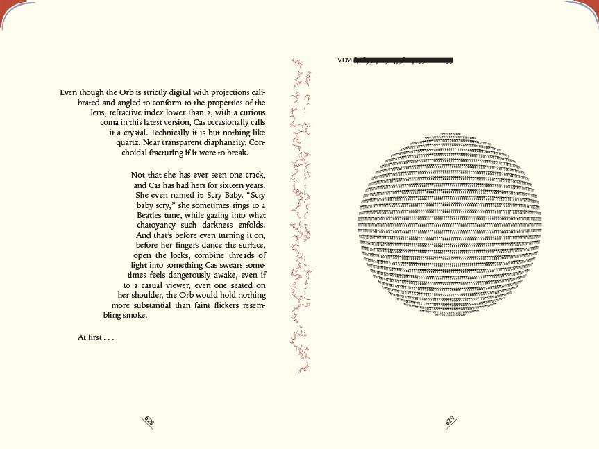 Pages 628-629 in The Familiar, Volume 1. The colors on the upper corners of the pages indicate the character who is narrating.