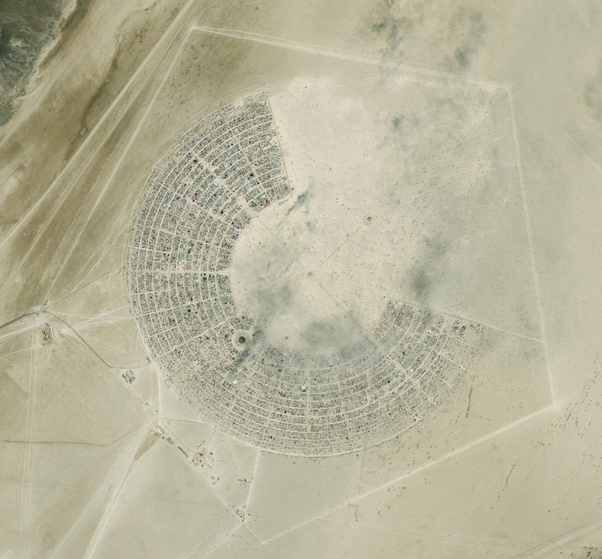A DigitalGlobe satellite image shows an overview of the Burning Man festival in 2013.
