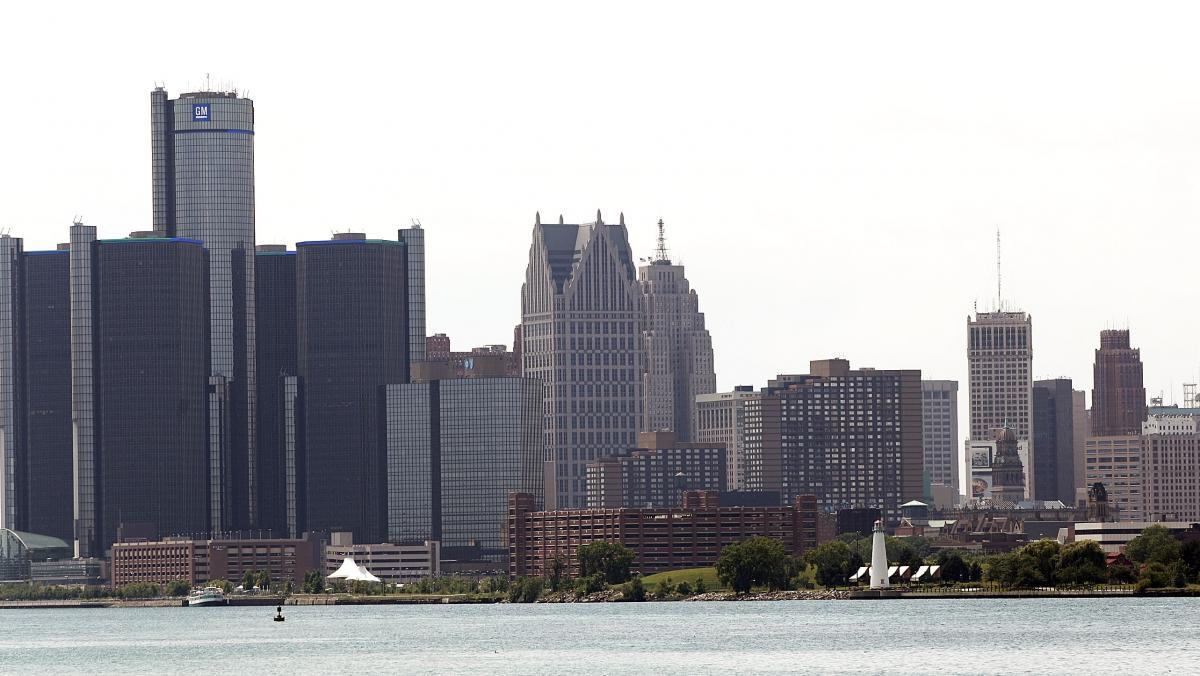 The city of Detroit's skyline.