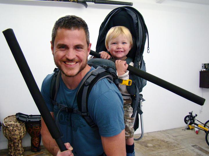 Sam Sheridan, shown here with his son Asa, is an amateur boxer and MMA fighter. He has worked in construction in Antarctica and as a cowboy and farmhand in Montana.