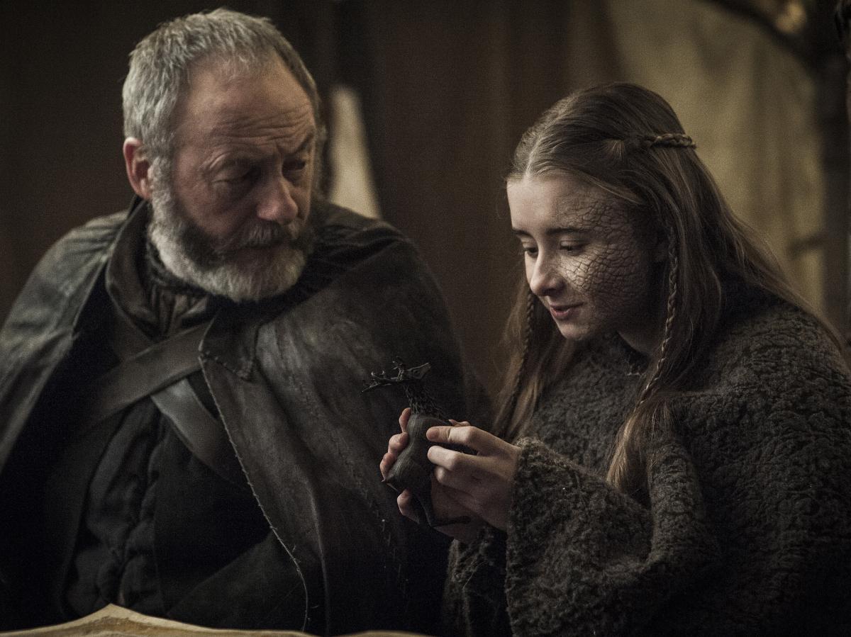 Davos Seaworth (Liam Cunningham) and Princess Shireen Baratheon (Kerry Ingram).