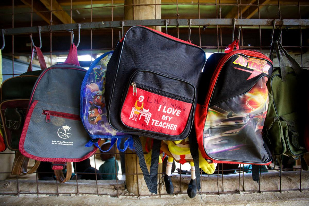Backpacks hang outside a Bridge classroom in Kiembeni, near the city of Mombasa.