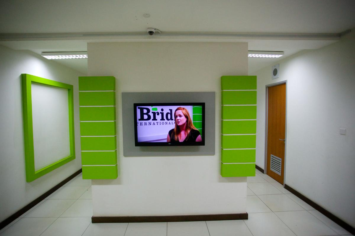 Bridge co-founder Shannon May on a video monitor in the company's Nairobi headquarters.
