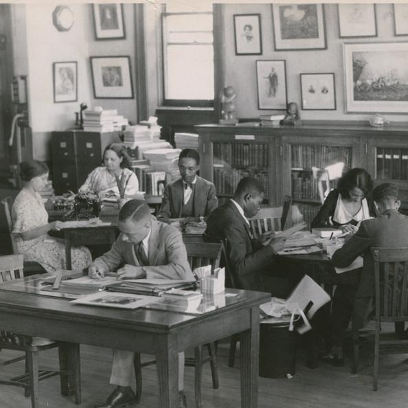 Researchers at the constructed-by-Carnegie 135th Street branch of the New York Public Library, 1938.