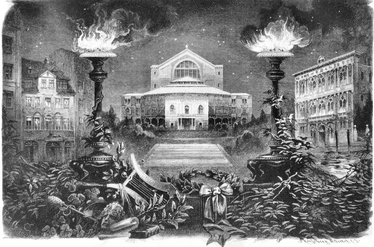 Rudolph Cronau's drawing of Wagner's opera house, Bayreuth, flanked by his birthplace (left) and place of death.