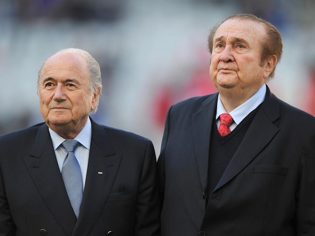 The former FIFA president, Sepp Blatter, left, and the former president of CONMEBOL, Nicolas Leoz, before the start of a 2011 match in Copa America soccer tournament in Argentina. Blatter resigned amid the FIFA corruption scandal and Leoz is among those a