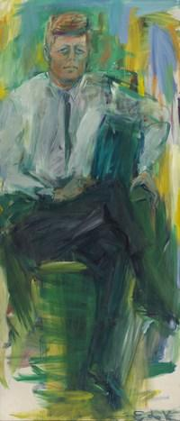 """De Kooning says she remembers """"scampering up and down the ladder"""" working on her larger-than-life painting of Kennedy."""