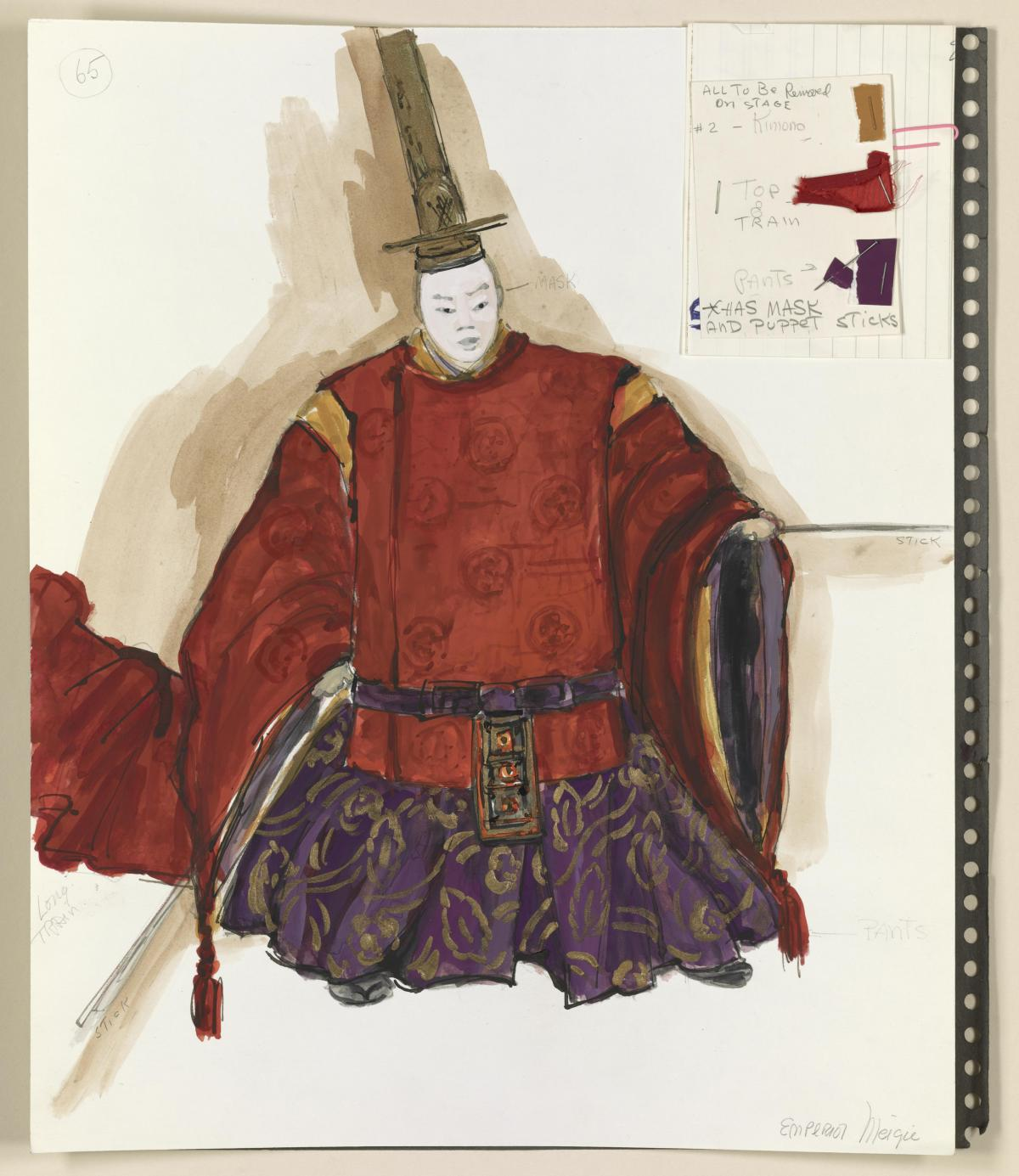 Florence Klotz's costume design for Pacific Overtures, which opened at the Winter Garden Theatre in June 1976.