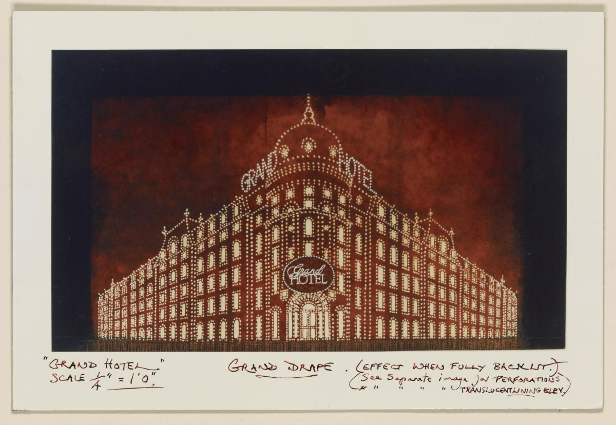 Tony Walton's grand drape design for Grand Hotel, which opened at the Martin Beck Theatre, New York City, in November 1989.