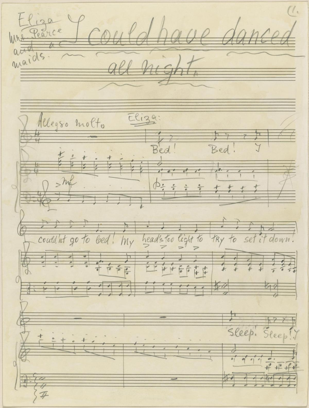 """The composer's manuscript for """"I Could Have Danced All Night"""" from My Fair Lady, 1956."""