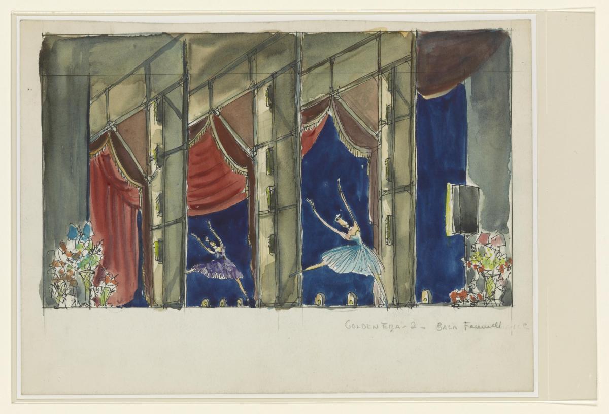 Peggy Clark and Elizabeth Montgomery's watercolor design for the Agnes de Mille Dance Theatre for Barocco and Golden Era, 1953.