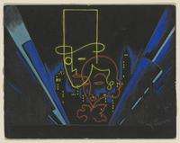 James Stuart Morcom's stage design for the Federal Theatre Project, between 1935–1939. Gouache, colored pencil, and wash on illustration board.