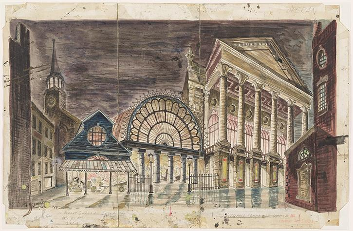 Oliver Smith's set design of Covent Garden for My Fair Lady, which opened at the Mark Hellinger Theatre in New York, on March 15, 1956. Watercolor and pen and ink drawing.