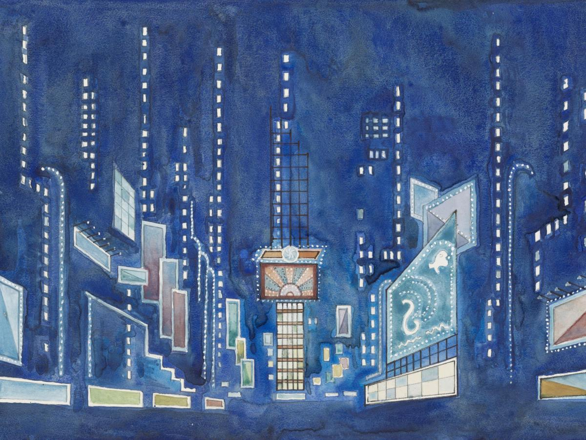 Oliver Smith (1918–1994). Scenic design for Jerome Robbins' Broadway. Watercolor and pen and ink drawing.