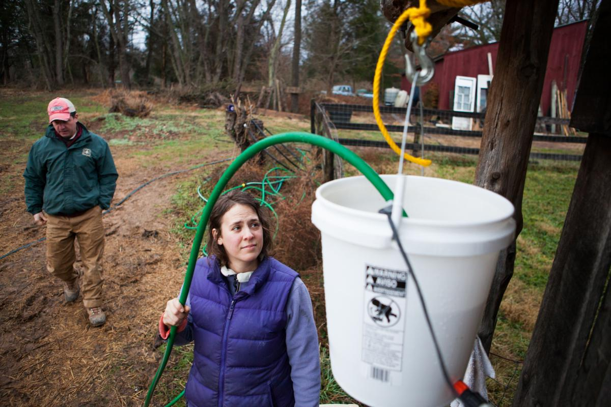 Sara Guerre fills the chicken coop's water feeder. The Guerres installed an aquarium heater to prevent freezing throughout the winter months.