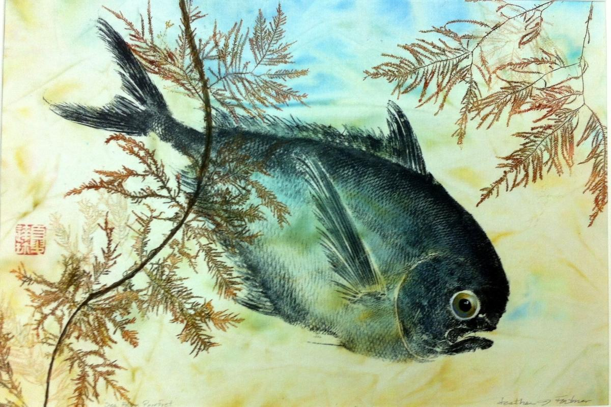 "Oregon pomfret, by Heather Fortner. ""I have always loved the ocean and anything from the ocean,"" Fortner says, adding, ""Gyotaku allows you to express an appreciation for the natural world by partnering with the finest artist in the world: Mother Nature."""