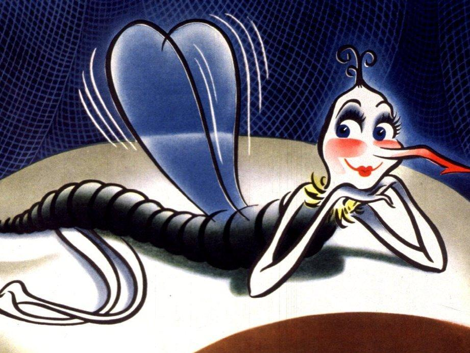 """A cartoon of """"Annie Awful,"""" a dangerous female mosquito that reminds U.S. soldiers to protect themselves from malaria."""