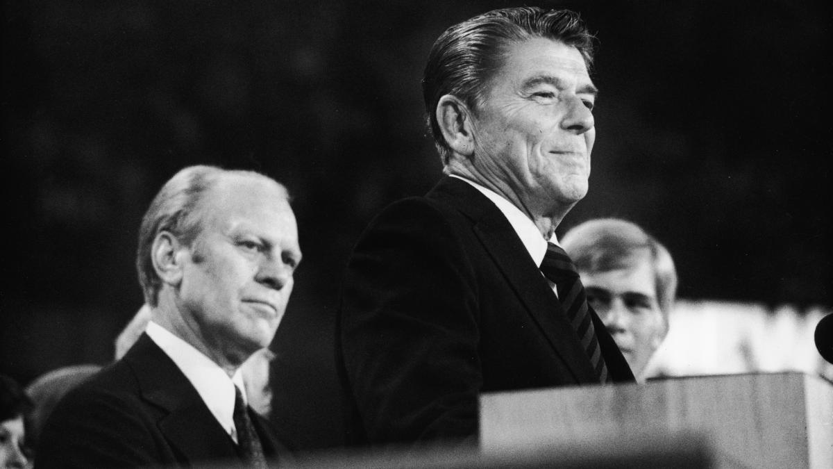 """The 1976 nominating struggle between Gerald Ford and Ronald Reagan, seen here speaking at the Republican National Convention in Kansas City, showed the growing appeal of putting the nomination in the hands of """"the people"""" — meaning the people who partic"""