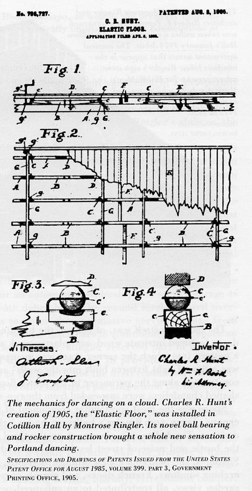 The 1905 patent for the elastic floor technology used in the Crystal Ballroom.