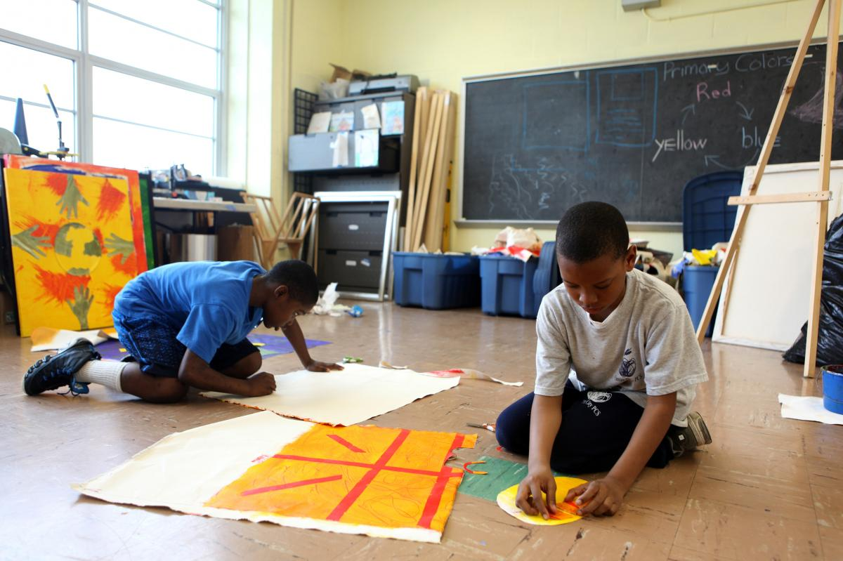 Life Pieces to Masterpieces is an arts program that serves the neighborhood of Ward 7 in Washington, D.C. Boys work with mentors to create works of art.