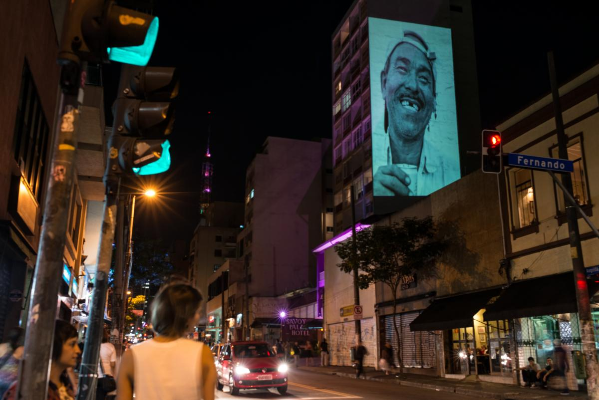 A portrait is projected on the walls of a building as part of a project promoting art through re-evaluating urban spaces and buildings in Sao Paulo, Brazil, on Nov. 22.