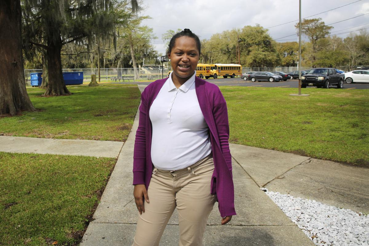 With a baby on the way, Derricka Tucker, 18, is determined to graduate this spring.