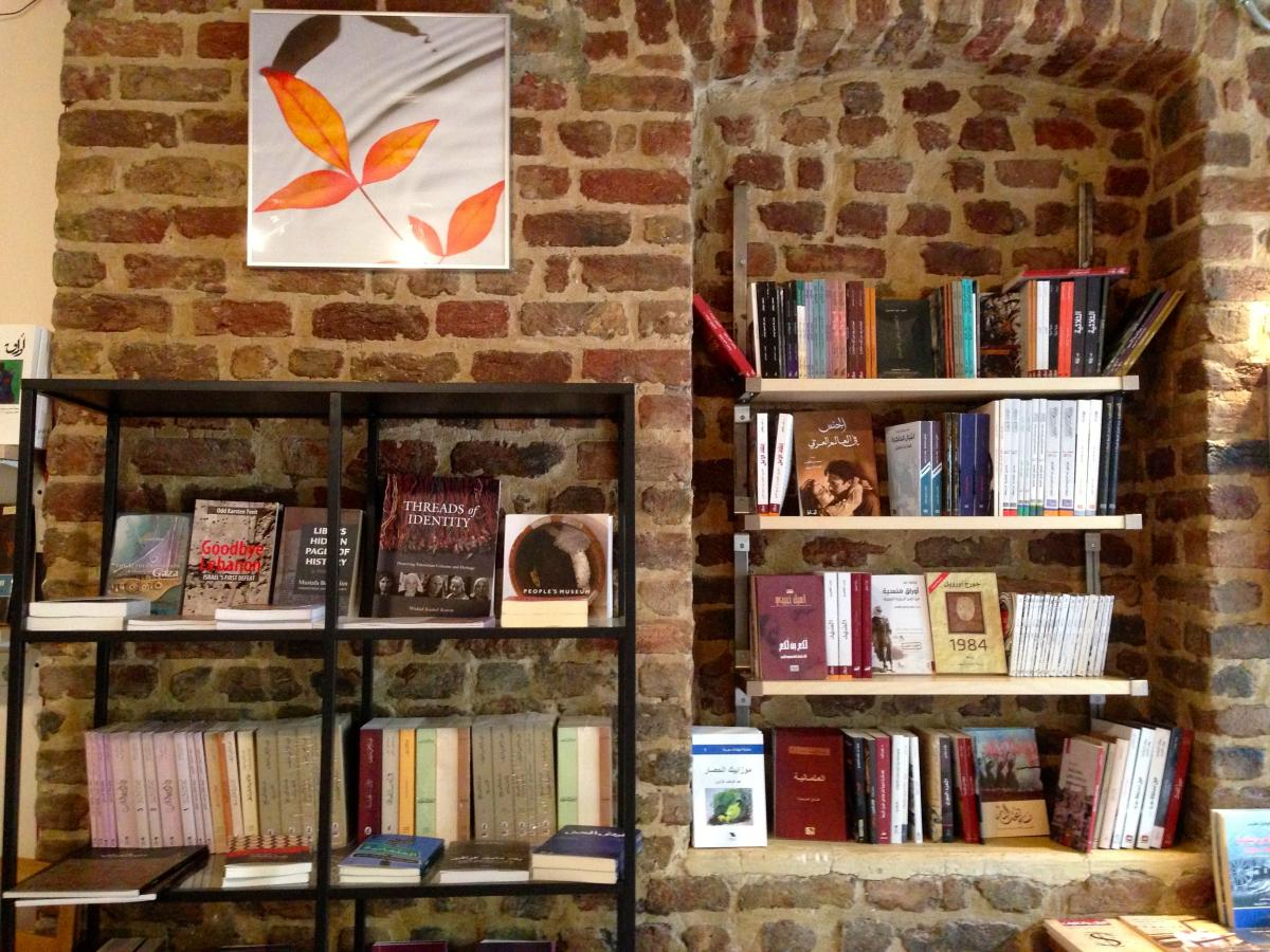 Arabic- and English-language books are displayed in the new Syrian-run Pages bookstore in Istanbul. Titles in Turkish and French are also available.