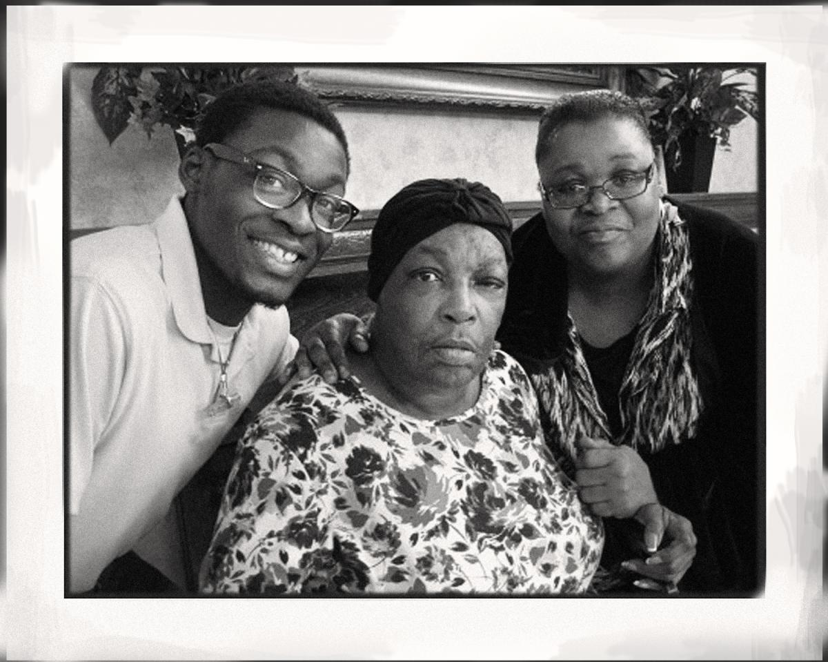 When Jim Crow laws ended, Shirley Cruel — Queen's great-niece — went back to school and became a social worker. Here, Cruel, who died at age 66 last April, is flanked by grandson Alvion Sampson and her daughter Kaye Sampson.