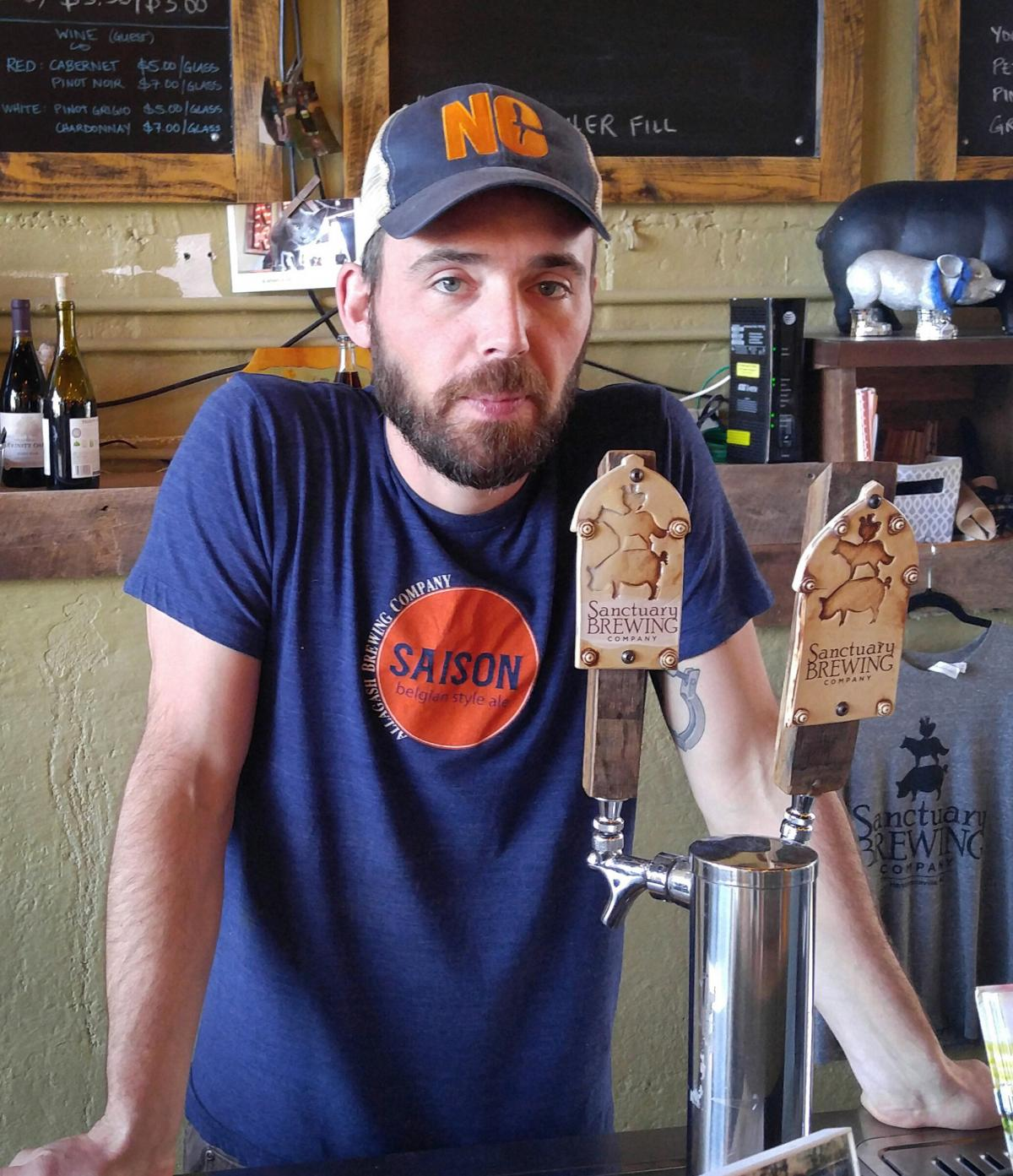Joe Dinan, co-owner of Sanctuary Brewing in Hendersonville, N.C., says his subsidized health coverage under the Affordable Care Act paid for his skin cancer surgery this year.