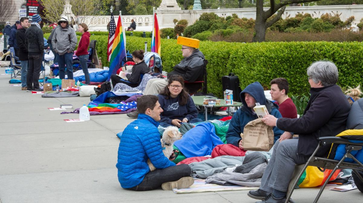 People camp on the sidewalk outside the U.S. Supreme Court Saturday, to attend the Tuesday arguments over gay marriage. The line began forming Friday — four days before the session.