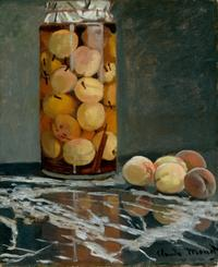 Monet's Jar of Peaches, circa 1866. The artist grew peaches along the wall of his kitchen garden.